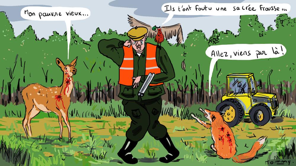 Un chasseur poursuit un paysan dont le tracteur l'aurait effrayé