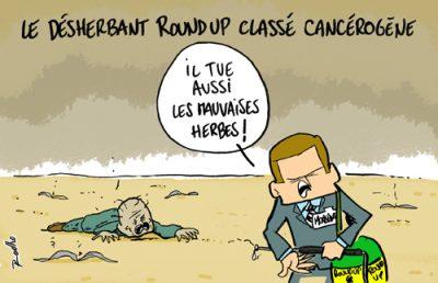 Dessin de presse : sur fond désertique avec un cadavre humain, un commercial bonnimente au sujet du Glyphosate, classé cancérigène : «Il tue aussi les mauvaises herbes!».