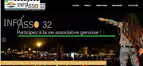 Page d'accueil du site web info asso 32