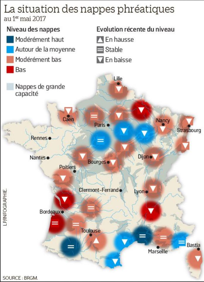 Carte des bassins touchés par la sécheresse