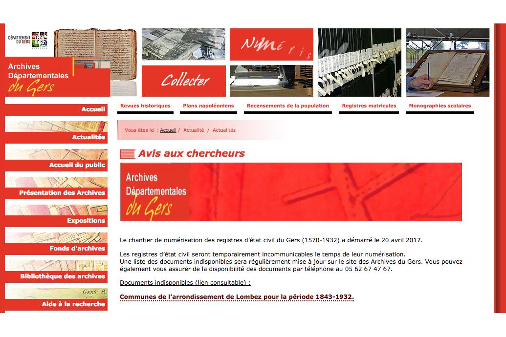 Page d'accueil de la numérisation de l'état civil du Gers